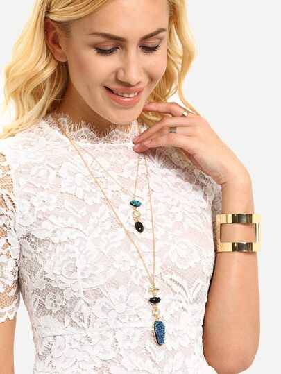 Layered Gemstone Pendant Necklace