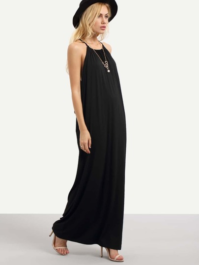 Black Spaghetti Strap Shift Maxi Dress