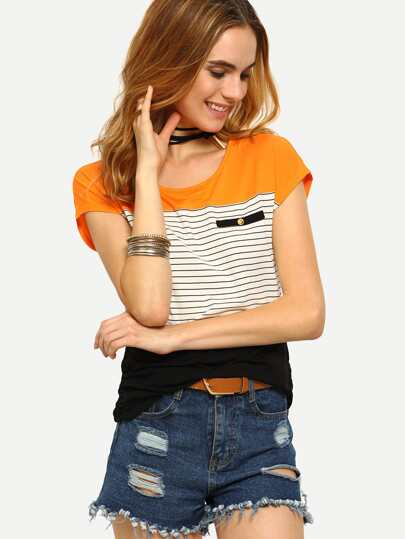 Multicolor Cap Sleeve Striped T-shirt