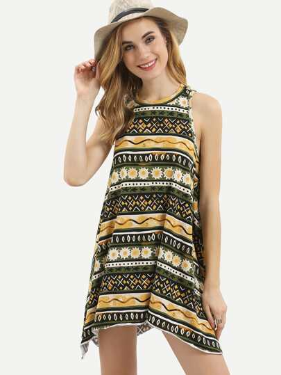 Multicolor Sleeveless Cut-out Asymmetrical Dress