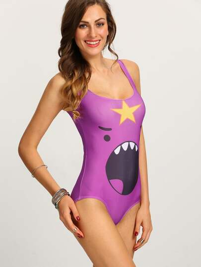 Cartoon Yelling Face Print One-Piece Swimwear - Purple