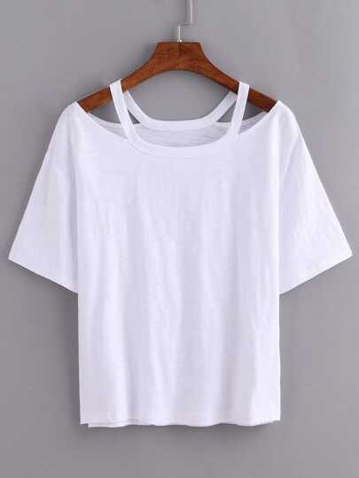 Cutout Loose-Fit White T-shirt
