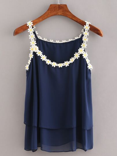 Daisy Lace Trimmed Layered Chiffon Cami Top - Navy