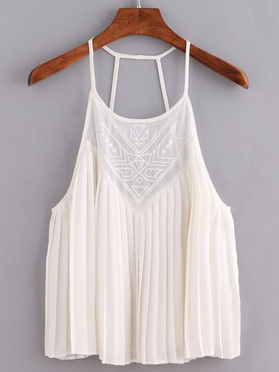 Embroidered Pleated Chiffon Cami Top - White