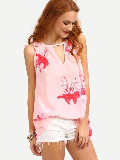 Double Keyhole Neck Flower Print Chiffon Dress - Pink