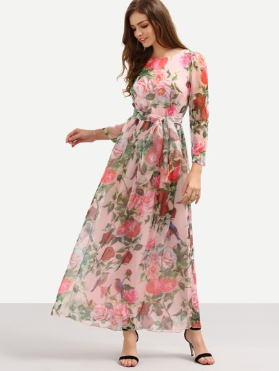 Self-Tie Rose Print Long Sleeve Chiffon Dress - Pink