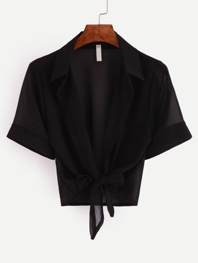 Black Lapel Short Sleeve Knotted Blouse