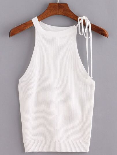 Beige Lace Up Ribbed Tank Top
