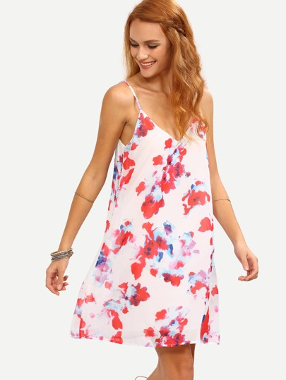 White Florals Chiffon Shift Cami Dress