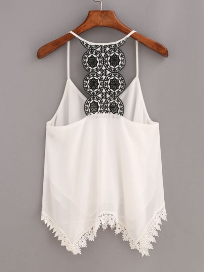 Contrast Racerback Lace Trimmed Cami Top - White