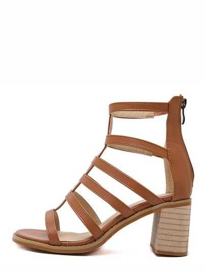 Brown Open Toe Gladiator Chunky Sandals