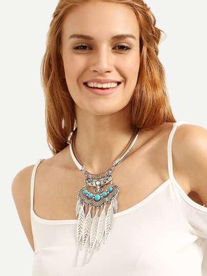 Silver Leaf Tassel Pendant Choker Necklace