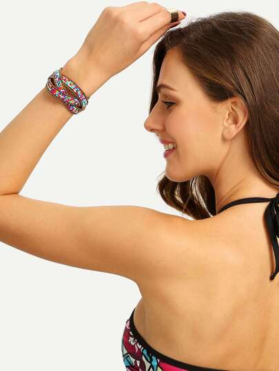 Multicolor Beaded Criss Cross Cuff Bracelet