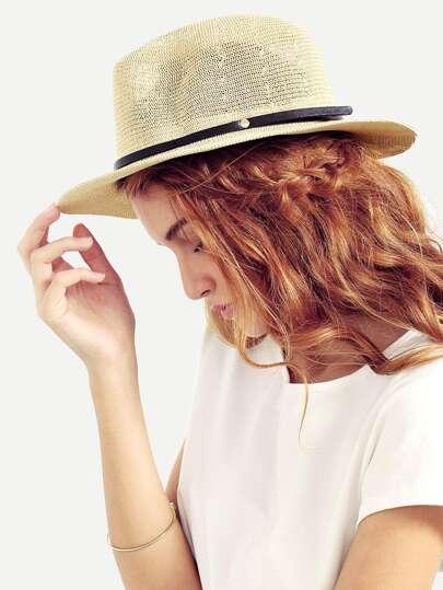 Beige Ribbon Accent Straw Hat