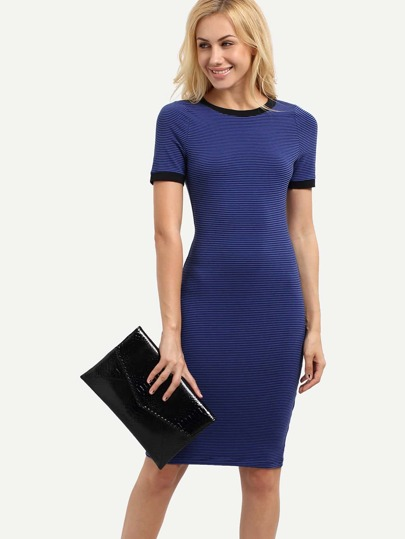 Navy Short Sleeve Striped Sheath Dress