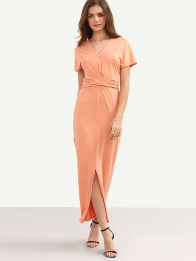 Pink Short Sleeve Tie Waist Split Dress