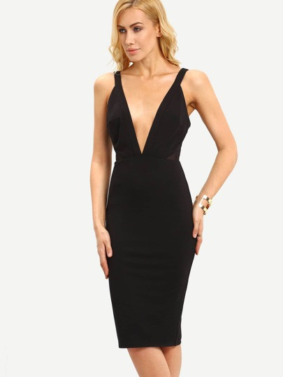 Black Sleeveless V Neck Backless Sheath Dress