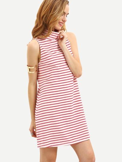 Multicolor Striped High Neck Shift Dress