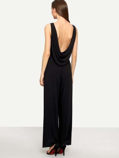 Black Sleeveless Backless Jumpsuit