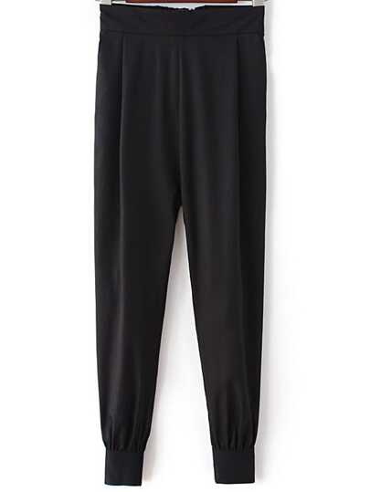 Black Elastic Waist Zipper Side Pockets Pants