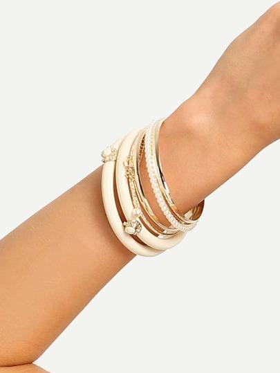 Beige Multilayer Pearl Bracelet