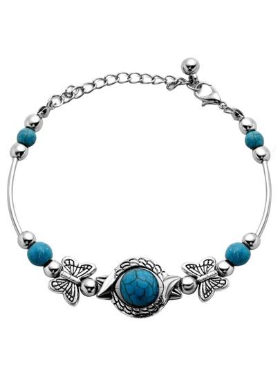 Antique Silver Turquoise Beaded Bracelet