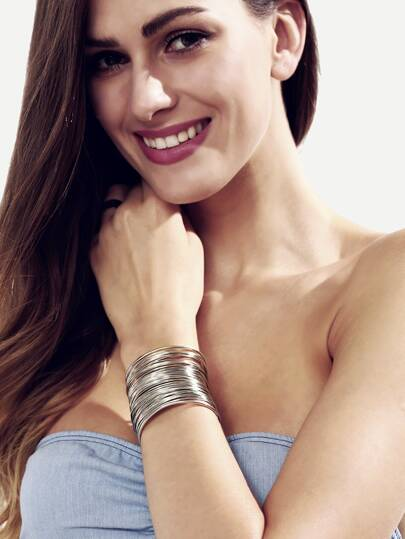 Silver Hollow Metal Cuff Bracelet