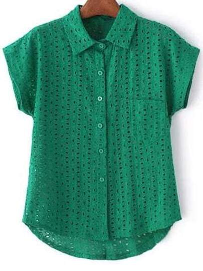 Green Short Sleeve Pocket Hollow Embroidery Blouse