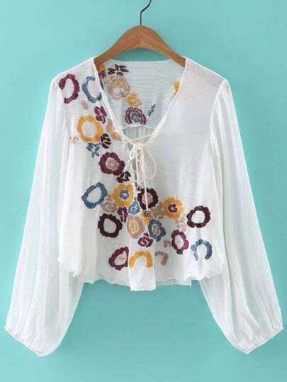 White Lantern Sleeve Lace Up Front Embroidery Blouse