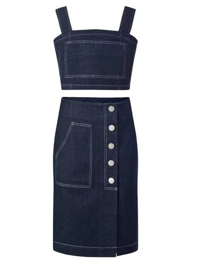 Black Buttons Front Denim Pencil Skirt With Crop Strap
