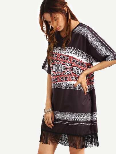 Fringe Trimmed Tribal Print Oversized Dress - Black