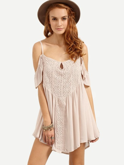 Cold Shoulder Lace Overlay Swing Dress - Apricot