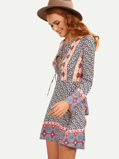Lace-Up Front Multicolor Geometric Print Boho Dress