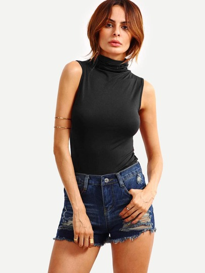 Cowl Neck Tank Top - Black