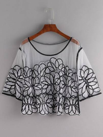 Black White Embroidered Mesh Cover-Up Top