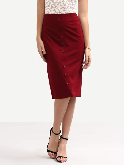Buttoned Front Pencil Skirt - Burgandy