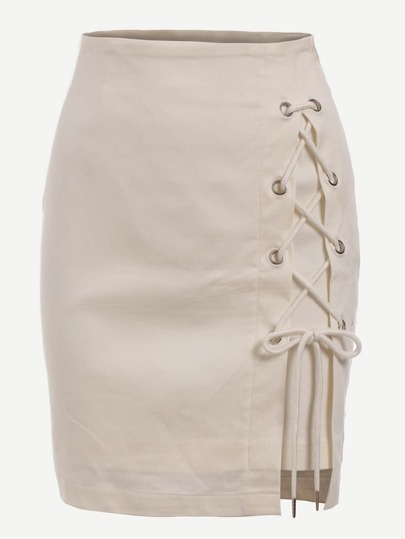 Eyelet Lace-Up Skirt
