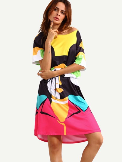 Color Block Pop Portrait Print Shift Dress