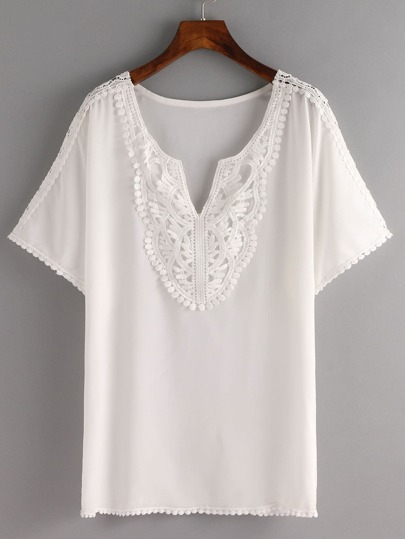 Pom Pom Lace Trimmed White Chiffon Top