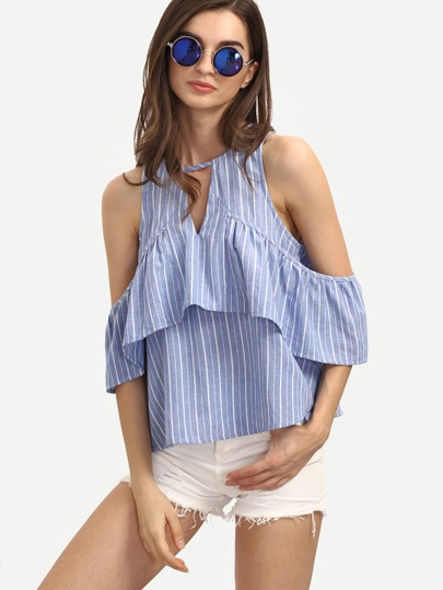 Striped Open Shoulder Frill Keyhole Back Blouse