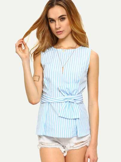 Twist Bow Belt Embellished Slim Fit Top