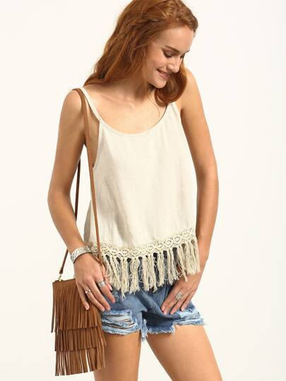 Apricot Spaghetti Strap Backless Fringe Tank Top