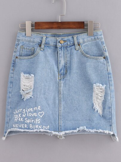 Blue Letters Print Button Denim Skirt