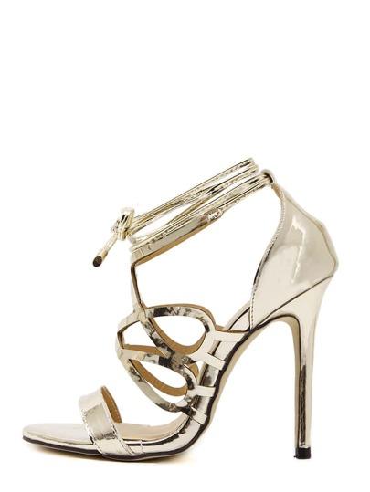 Sandales à talon aiguille bout ouvert - doré