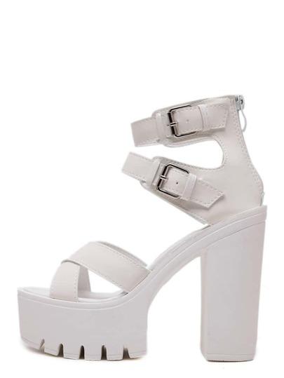 Sandales à semelle compensée bout ouvert - blanc