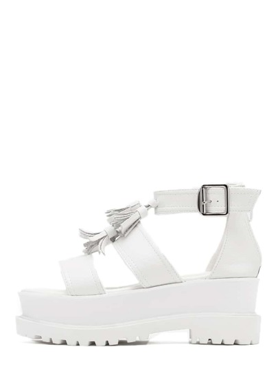 White Peep Toe Platform Fringe Wedges