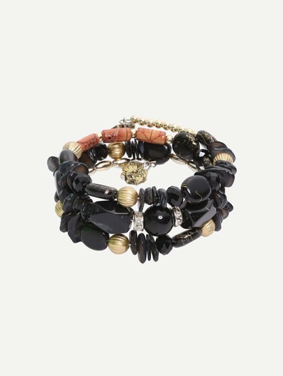 Multilayer Black Beads Vintage Bracelet