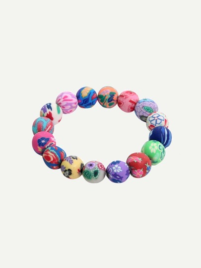 Colored Polymer Clay Beads Elasticated Bracelet