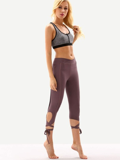 Purple Hollow Tie Skinny Leggings