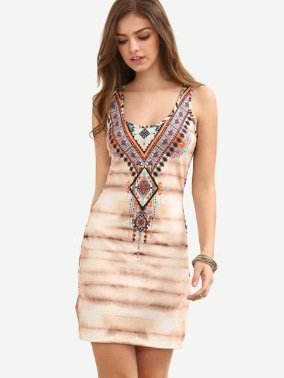 Multicolor Print Scoop Neck Sheath Dress